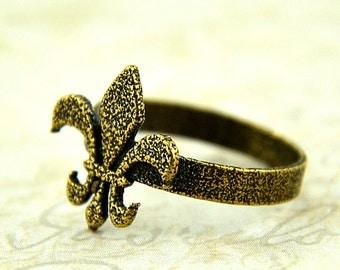 Two for One Sale....Bronze Fleur De Lis Ring - Fleur de Lys Ring