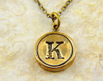 Letter K Necklace - Typewriter Key Pendant Necklace Charm