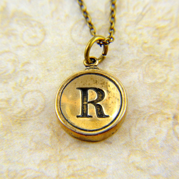 Letter R Necklace - Bronze Initial Typewriter Key Charm Necklace - Gwen Delicious Jewelry Design