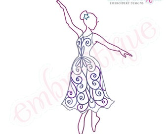 Swirly Twirly Ballet Dancer- Instant Email Delivery Download Machine embroidery design