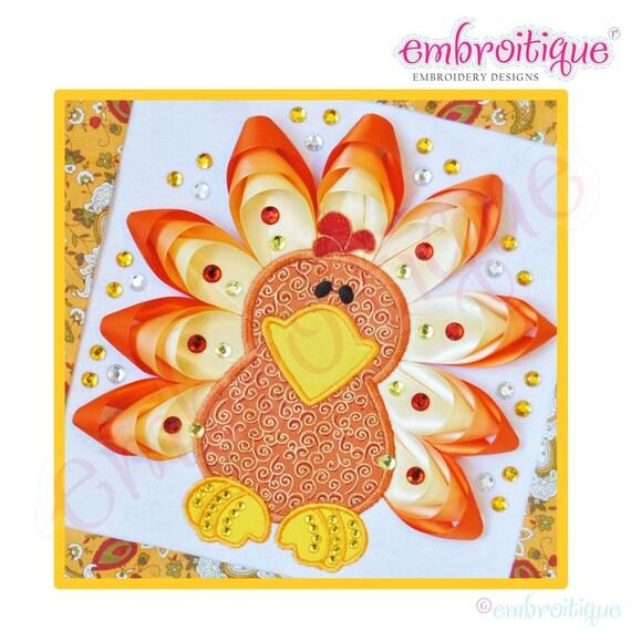 Ribbon Turkey Applique- Instant  Download- Digital Machine Embroidery Design