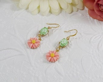 Earrings with Vintage Glass Gems and Peach Daisies