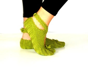 Women Slippers, Knitting Slippers, Green Slippers, Wool Slippers, Ballerina Slippers
