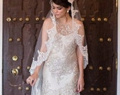 """Beaded Lace Wedding veil, Spanish veil, Catholic bridal  beaded lace veil 90"""" long with high end exclusive lace edge, mantilla style"""