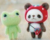 Japanese Needle Wool Felt Mascot DIY Kit - Strawberry Hat Panda & Little Frog, Yoko Ohko, Kawaii Felting Animal Doll, Hamanaka Kit, F28