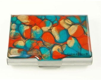 Large Metal Business Card Case Hand Painted Enamel Coral Orange and Turquoise Quartz Glossy Finish Custom Colors and Personalized Options