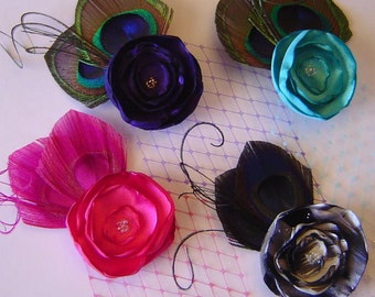 CUSTOMIZABLE Flower Feather and Veil Hair Fascinator Clip Simple Chic