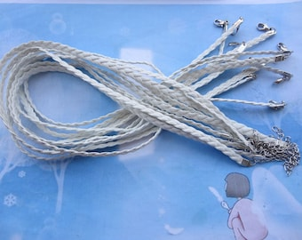 10pcs 17-19 inch adjustable 5mm white flat braided leather necklace cord with lobster clasp and extension chain