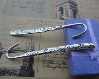 5pcs Antique Silver Patterned Bookmarks Metal Bookmarks Curved Bookmark Christmas Gift