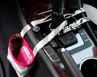 CAR CELLPHONE CADDY, Gray Chevron, Cell Phone Holder, Mobile Accessories, Sunglasses Case, Smartphone Case, Beach Chair Bag, Golf Cart Bag
