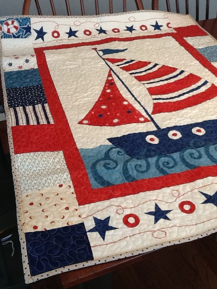 Nautical Boat Quilt Sailing Ship Baby Quilt In Blue And Red