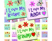 Buy 2 GET 1 FREE - Instant Download - I Love My Family Collage Sheet - .75x.83 inch scrabble tile size for pendants, hair bows, magnets 103