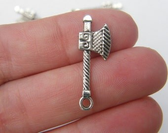 BULK 50 Axe charms antique silver tone SW19