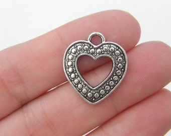 6 Heart charms antique silver tone H5