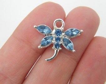 4 Light blue rhinestone dragonfly pendant 20 x 19mm silver plated D19