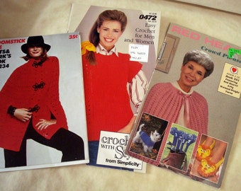 Three Pattern Booklets for Crocheting for Men, Women, Family and Accessories