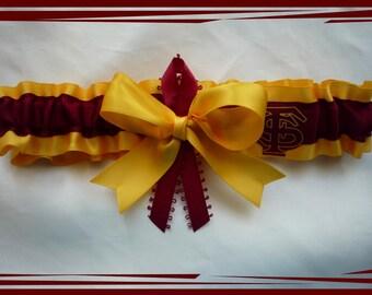 Gold Satin Ribbon Wedding Garter Made with Florida State Fabric