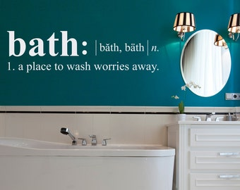 Bath Definition Wall Decal - Dictionary definition Decal - Bathroom Wall Decal - Large