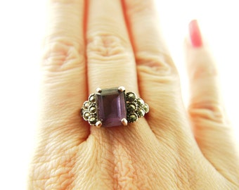 Amethyst Marcasite Heart Ring - Sterling Silver - Vintage