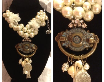 Knockin' On My Heart Necklace -Great Holiday Gift- Steampunk Found Objects Elegance Piece