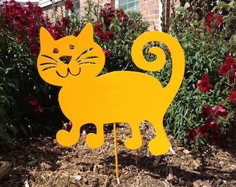 Cat Garden Stake or Wall Hanging / Garden Art / Pet / Memorial / Cut Out / Metal / Silhouette / Yard  / Art / Rust / Orange / Lawn Ornament