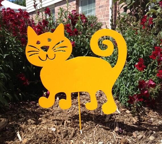 Cat garden stake or wall hanging garden art pet memorial for Cat yard art