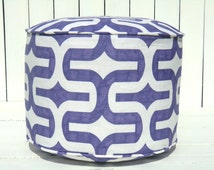 """Purple pouf ottoman 18"""", lilac and white nursery pouf, round floor cushion dorm room decor, foot rest for glider"""