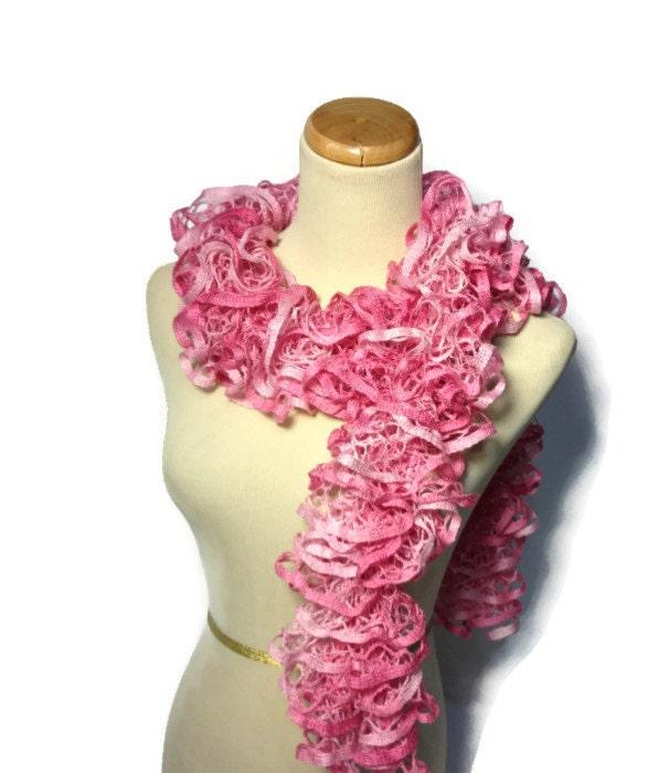 knit scarf ruffle scarf pink scarf by arlenesboutique