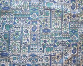 Cotton Fabric 2.5yd x 44 Blue Green w GOLD METALLIC