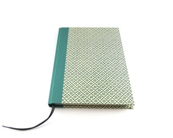 A5 unlined Notebook,  green graphic flower pattern, unlined Journal, Blank Book, A5 Bullet Journal, Diary, memory book, green book, handmade