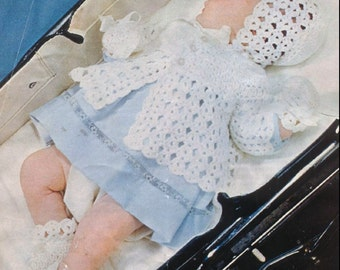 Vintage BABY CROCHET PATTERN - Matinee Set incl Bootees, Bonnet and Coat/Jacket/Sweater - 16 to 20 inch chest