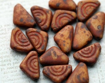 12mm Czech Glass Beads - Rustic Triangle Beads - Matte Rust Beads - Picasso Triangles - Bead Soup Beads