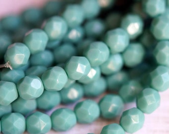 6mm Turquoise Fire Polished Czech Glass Beads - Bead Soup Beads