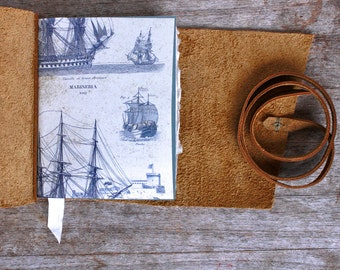 Leather Journal, Wooden Ship, Mariner, Captain's Log