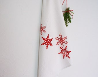 SALE! Snowflake Tea Towel in Classic Red. Cotton Flour Sack Towel. Christmas. Hostess Gift. Hand Screen-Printed.