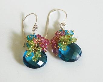 London Blue Quartz And peridot, Pink - Blue Quartz Cluster Dangle Drop Earrings-  - Wedding Jewelry- Wedding Accessories - Bridal Jewelry