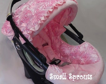 Light Pink 3D roses/light pink minky Britax B-Safe BOB Infant Car Seat Cover 5 piece set-ready to ship