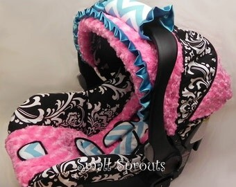 Sophia Collection/Black Damask/Blue and White Chevron/Pink Minky Rosette Infant Car Seat Cover 5 piece set