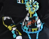 1st Birthday Shirt  One Rocks Groovy Guitar theme Number 1 shirt hat and baby neck tie set