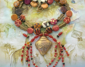 STUNNING African Baule Brass Mask, African Kazuri Ceramic Jungle Beads, Mask Collection, Statement Necklace Set by SandraDesigns
