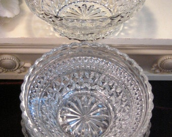 Vintage Anchor Hocking Crystal Wexford Cereal or Soup Bowl Set of Four, 1960s Mid Century Glass Dinnerware, Vintage Kitchen Bowl Set