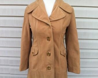 ON SALE Vintage Khaki Women's Cashmere Coat - size