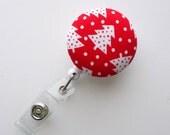 Red and White Christmas Tree - Cute ID Badge Reel - Nurse Badge Holder - Nursing Badge Reel - Holiday Badge Reel - Teacher Badge Clip