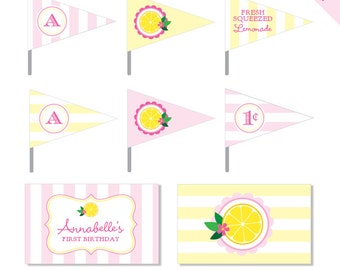 Pink Lemonade Party - Personalized DIY printable straw flags and napkin rings