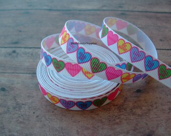 5 Yards 3/8 Inch Conversation Hearts Grosgrain Ribbon