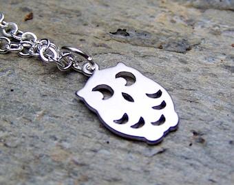 Silver Owl Necklace Cute Little Owl Jewelry