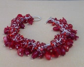 Hand Made Chainmaille Bracelet- Hand Made Beaded Bracelet - Hand made shaggy chainmaille bracelet- hand made red chainmaille bracelet