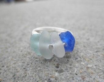 Ocean Depths  Beach Glass Ring size 7.5