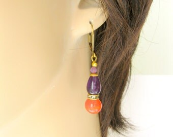 Amethyst and Tangerine Dangle earrings. Genuine Amethyst Vintage tangerine glass gold plated earrings