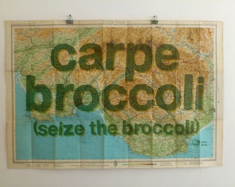 Carpe Broccoli - seize the broccoli, printed lime text on 50 year old map. perfect for a vegetarian